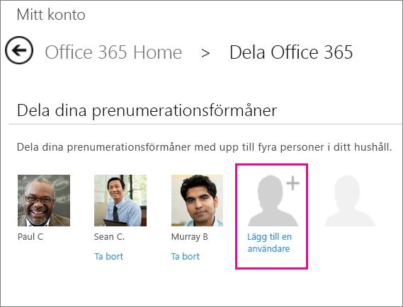 """Skärmbild av sidan Dela i Office 365 med alternativet """"Lägg till användare"""" markerat."""