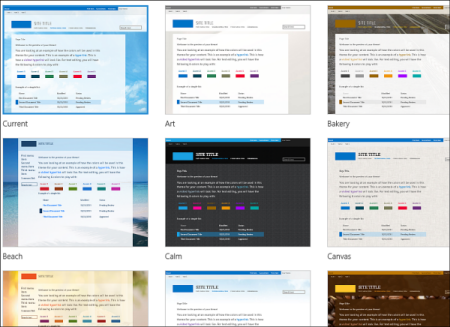 หน้าการเลือกเทมเพลตของ Office 365 ที่แสดงเทมเพลตที่เลือกได้สำหรับเค้าโครงและธีมของไซต์สาธารณะ