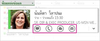 บัตรที่ติดต่อของ Lync ใน Project 2013