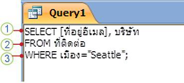 แท็บวัตถุ SQL ที่แสดงคำสั่ง SELECT