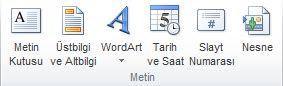 PowerPoint 2010 şeridinde Ekle sekmesindeki Metin grubu.