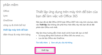 Thiết lập ứng dụng trên máy tính của bạn để hoạt động với Office 365