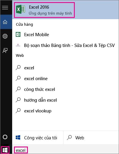Bắt đầu tìm kiếm ứng dụng trong Windows 10 hoặc trên web
