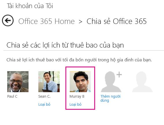 """Ảnh chụp màn hình của trang Chia sẻ Office 365 với tuỳ chọn """"Loại bỏ"""" người dùng được chọn."""