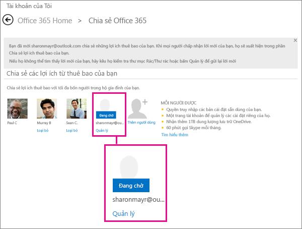 Ảnh chụp màn hình của trang Chia sẻ Office 365, trong đó có chọn một người dùng thuê bao được chia sẻ đang chờ.