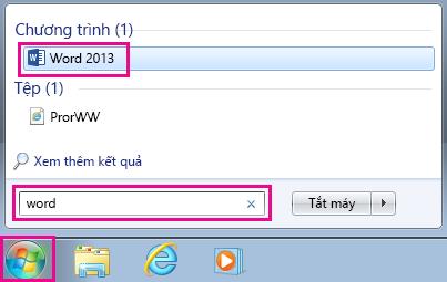 Tìm kiếm các ứng dụng Office trong Windows 7