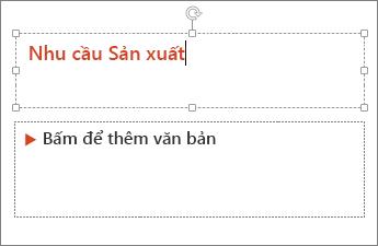 Hiển thị thao tác thêm văn bản vào trường văn bản trong PowerPoint