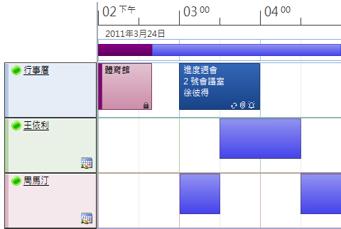 行事曆排程檢視